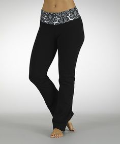 Take a look at this Black & White Dream On Flat-Waist Yoga Pants by Marika on #zulily today!