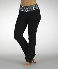 Look at this #zulilyfind! Black & White Dream On Flat-Waist Yoga Pants #zulilyfinds