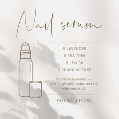 Keep your nails looking and feeling fabulous this winter season with this DIY nail serum! Combine equal drops of Lavender, Tea Tree, Lemon, and Frankincense essential oil in a 10 ml roller bottle and top with your favorite carrier oil. Apply on nails and cuticles in the morning and night. #diy #recipe #aromatherapy #essentialoils #youngliving #yleo Frankincense Essential Oil, Doterra Essential Oils, Essential Oil Blends, Young Living Oils, Young Living Essential Oils, Roller Bottle Recipes, Nail Oil, Lavender Tea, Winter Season