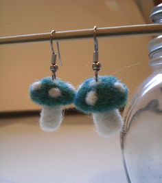 Mushroom Jewelry, Felted Earrings, Turquoise and White, Felted Toadstools, Woodland Gift, Hippie Jewelry, Forest Mushrooms, Needle Felted on Etsy, 7,44€
