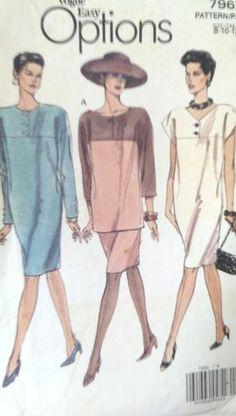 Vogue Easy Options Dress Pattern 7962 Misses Sizes 8 10 12 FF Uncut 3 Styles   eBay