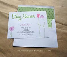 Flower Garden Whimsy Baby Shower Invitation With Envelope Liner