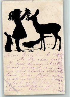 Scherenschnitt - Mädchen füttert ein Reh und Fasan 1918 AK