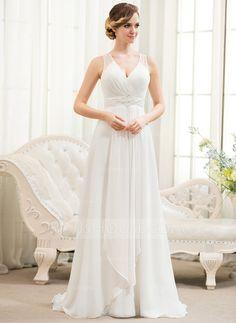 A-linjeformat V-ringning Sweep släp Chiffong Tyll Bröllopsklänning med Pärlbrodering Paljetter Svallande Krås (002054621) - JJsHouse