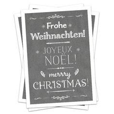5 Weihnachtskarten, FROHE WEIHNACHTEN, 3 Sprachen