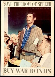 Norman Rockwell Four Freedoms Propaganda Poster (U.S. Government ...
