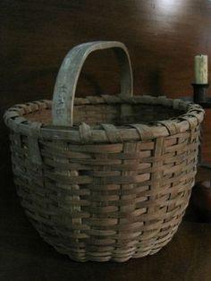 Antique 1800s N. E. CARVED Handle Woven BLACK ASH Splint Gathering Basket AAFA #NaivePrimitive Sold North Bayshore Antiques