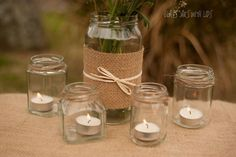 Trendy Ideas For Wedding Table Decorations Natural Twine Wedding Jars, Wedding Table Names, Simple Wedding Decorations, Rustic Wedding Flowers, Small Glass Vases, Glass Jars, Round Glass, Flower Centerpieces, Flower Vases