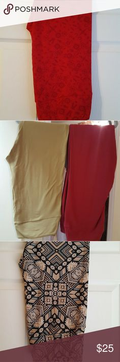 Lularoe TC Leggings New With Tags - Red with darker red designs LulaRoe Pants Leggings