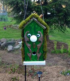 Door Knob Bird House my husband made for our Alice in wonderland garden