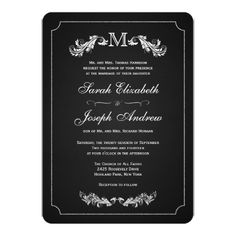 Chalkboard Wedding Invitation Monogram Chalkboard Formal Wedding Invitations