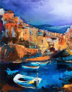 Riomaggiore - Cinque Terre Painting by Elise Palmigiani