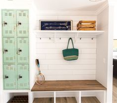 Vintage Lockers built into mudroom cubby. || As seen on HGTV's pilot episode of 'Rafterhouse'.