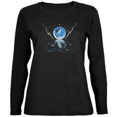 Grateful Dead - Blue Moon Black Juniors Long Sleeve T-Shirt