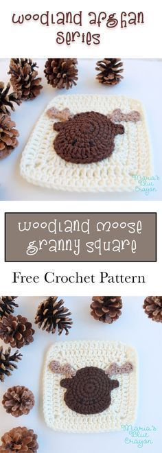 Moose Applique | Granny Square | Woodland Afghan Series | Free Crochet Pattern