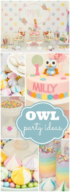 This owl first birthday is decorated with pastel colors and polka dots! See more party ideas at CatchMyParty.com!