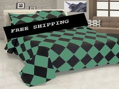18'' 6 Pc Egyp. Cotton Aqua Marine & Black Diamond Style Duvet Cover Set Twin.