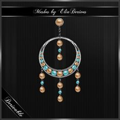 Bohemia Style Earrings, textured and fully derivable with easy maps and textures provided