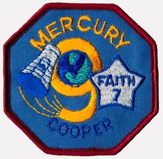 34 hours, 19 minutes, 49 seconds Last Mercury mission; completed 22 orbits to evaluate effects of one day in space. Space Projects, Space Crafts, Man Cave Ceiling Ideas, Space Patch, Nasa Patch, Project Mercury, Nasa Space Program, Nasa Missions, Space Shuttle