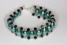 Green glass beads bracelet on Etsy, $15.00