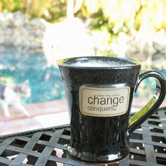 "A great reminder, clear the static, ""Change Conquers"" !  Love my new mug by Wordologies."