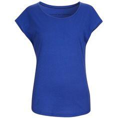 Comptoir Des Cotonniers Round Neck T-Shirt Samba - Colour Royal Blue ($2,895) ❤ liked on Polyvore featuring tops, t-shirts, shirts, blusas, cotton t shirt, electric blue shirt, royal blue tee, loose shirts and blue cotton t shirts