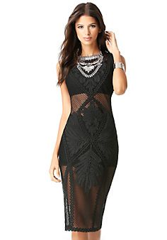 Net & Soutache Midi Dress $199 | Bebe