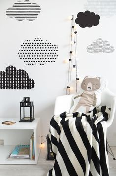 Beautiful clouds with modern patterns will help to create an amazing child's bedroom decor in scandi and playful style.The choice of  'black & white' colors allow the clouds to match any kind of room decor. The style of these wall stickers is simple and contemporary, adding the special touch to kid's rooms and creating a wonderful atmosphere.Delivery time:Small & Medium - available for immediate dispatchLarge - 2-3 weeksSizes:Small (85×55 cm) - perfect way to decorate ...