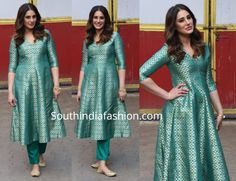 Nargis Fakhri in Raw Mango – South India Fashion Indian Gowns Dresses, Brocade Dresses, Pakistani Dresses, Brocade Suits, Pakistani Couture, Silk Kurti Designs, Kurti Designs Party Wear, Brocade Blouse Designs, Dress Designs