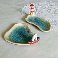 """Купить Комплект тарелочек """"Море"""" в интернет магазине на Ярмарке Мастеров"""
