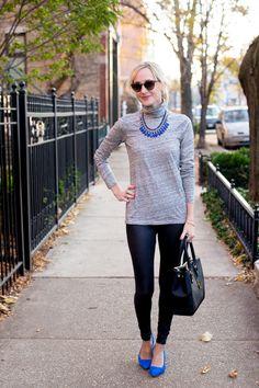 jcrew tissue turtleneck, leather leggings, bright accessories, and black bag