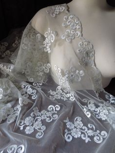 Lace Embroidered on Mesh in Silver for Bridal by MaryNotMartha, $18.50