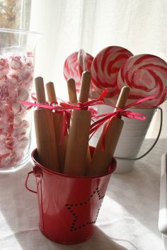 Mini rolling pins for baking party or for a craft party to use with Play-dough or clay.