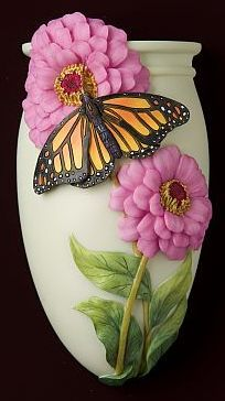 Zinnia and Monarch Butterfly Wall Vase/Wall Pocket