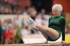 86 years old granny was in gymnastics competition