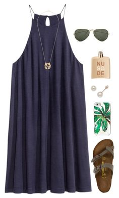 """""""Anyone else look like their mom's twin and can't stop seeing them when you look in the mirror """" by madelyn-abigail ❤ liked on Polyvore featuring Birkenstock, Kate Spade, COSTUME NATIONAL and Ray-Ban"""