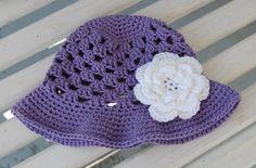 """Summer Fling Sun Hat 100% cotton. Flower is also a hair clip (4"""")."""
