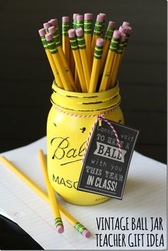 Pencil Mason Jar for Back-To-School Teacher Gift Idea