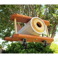 Bi-plane Birdhouse - Redwood And White