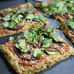 Vegan cauliflower pizza crust. (maybe substitute sunflower seeds for the almonds to make it tree nut - free)