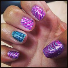 Water marble with glitter signature nail