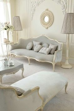Style Soft Grey Designer Sofa Venetian Style Ivory Italian Sofa at Juliettes Interiors, a large collection of Classical Furniture.Venetian Style Ivory Italian Sofa at Juliettes Interiors, a large collection of Classical Furniture. French Decor, French Country Decorating, French Chic, French Rococo, Cottage Decorating, Rococo Style, French Vintage, Vintage Style, Shabby Chic Furniture