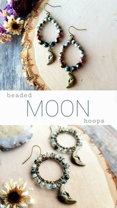 Handmade crescent moon hoop earrings with genuine gemstones + high quality Czech glass. Visit The Earth Below on Etsy to shop! Wooden Earrings, Women's Earrings, Etsy Jewelry, Boho Jewelry, Beach Foot Jewelry, Great Gifts For Mom, Beaded Anklets, Handmade Beaded Jewelry, Ankle Bracelets