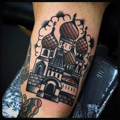 Russian building by Philip Yarnell (@ philipyarnelltattoos) done at @ sbldnttt #Russian #Russia #building #tattoo #tattoos