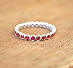 Red Ruby Gemstone Eternity Stacking Ring Recycled Sterling Silver - July Birthstone - Handmade Engagement  - Children Birthstone