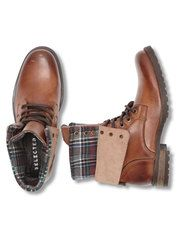 MARY BOOT BROWN W/FABRIC, Brown