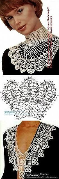 39 Ideas Crochet Lace Collar Roses For 2019 Tricot Pontos Col Crochet, Crochet Collar Pattern, Beau Crochet, Crochet Lace Collar, Crochet Motifs, Crochet Chart, Thread Crochet, Irish Crochet, Crochet Scarves