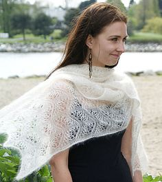 dancing cranes stole, free knitting pattern by shui kuen kozinski and benne ferrell Knitted Shawls, Crochet Shawl, Knit Crochet, Lace Shawls, Knitted Scarves, Knit Lace, Shawl Patterns, Knitting Patterns Free, Free Pattern