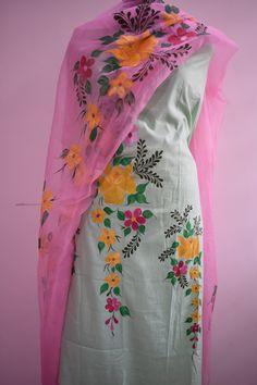 Hand Painted Punjabi Salwar Suit With Duppatta Fabric Painting On Clothes, Fabric Paint Shirt, Dress Painting, Painted Clothes, Punjabi Salwar Suits, Designer Punjabi Suits, Indian Designer Wear, Hand Painted Sarees, Hand Painted Fabric