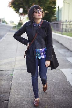Plaid + Loafers